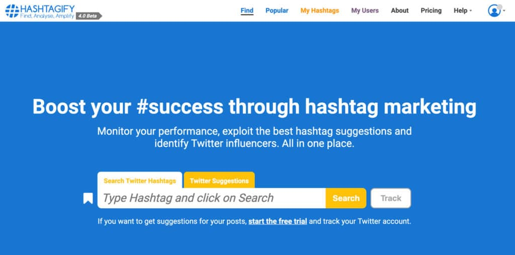 screenshot of hashtagify web app