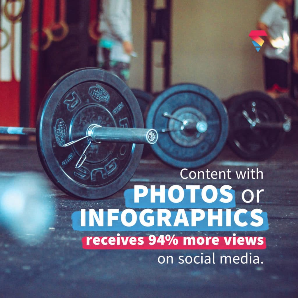 gym barbells lined up with photo and infographics statistic