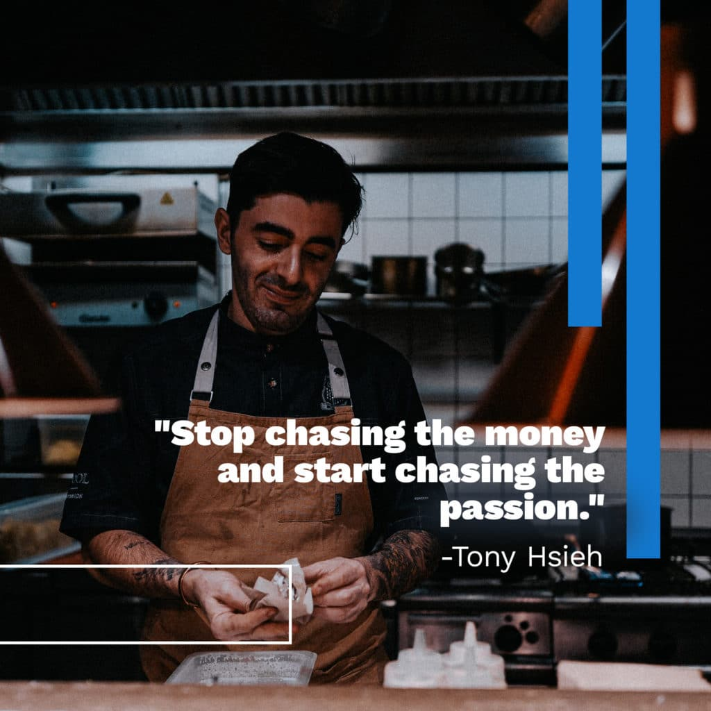 social media post quote with man working in restaurant